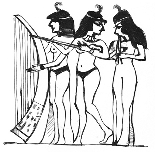 9-сурет. Мысыр пирамидаларының біріндегі Нахт қабірі қабырғасына салынған музыкантшалар кескіні.